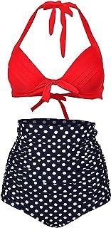 ZITY Womens High Waist Swimsuit Plus Size 2PCS Bikini Set Dot Retro Swimwear Backless Bathing Suit