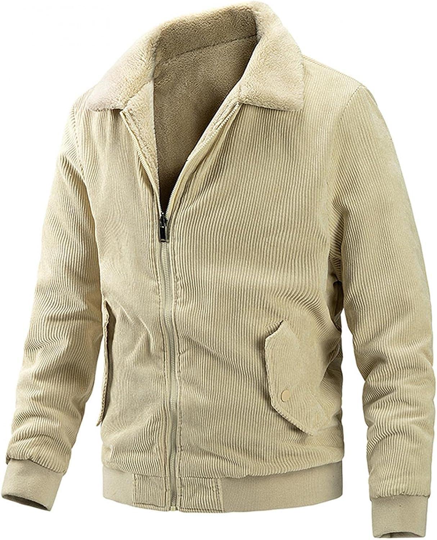 Men's Long-sleeve Corduroy Plus Fleece Double-sided Coat Autumn Winter Warm Wear On Both Sides PocketS Blouse Jacket