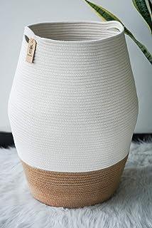Goodpick Large Laundry Hamper | Tall Wicker Hamper Laundry Basket, Soft Cotton Rope Woven Hamper, Farmhouse Design Gracefu...