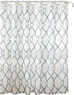 Decorative Sheer Fabric Shower Curtain: Embroidered Geometric Design Metallic Silver Lined (Beige/Smoke Blue)