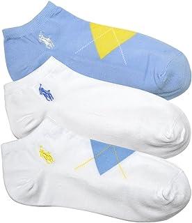 (ポロ ラルフローレン) POLO RALPH LAUREN レディース 靴下 ( 3足セット ) アーガイル アンクル ソックス 白 水色 [23.0cm-26.5cm] [7472PKBLWH] [並行輸入品]