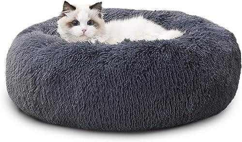 BEDSURE Panier Chat Rond Moelleux - Coussin Chat Apaisant en Peluche Doux et Confortable, Lit pour Chat Lavable et An...