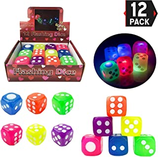 Liberty Imports Set of 12 LED Light Up Flashing Bouncy Dice - 6 Sided Large Rubber Toy Dies (1.5 inches, Assorted Colors)