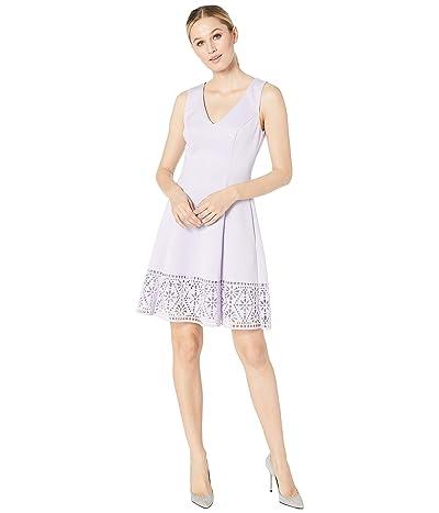 Vince Camuto Scuba Sleeveless Fit Flare Dress w/ Cut Out Back Laser Cut Hem (Lavender) Women