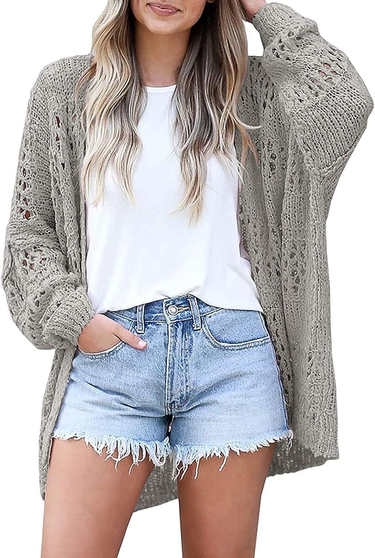 Women's Cardigan Long Sleeve Tops Light Loose Crochet Knit Sweater Coat