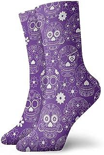 Dydan Tne, Niños Niñas Locos Divertidos Calcetines de Calaveras de azúcar con Flores de Color púrpura Calcetines Lindos de Vestir