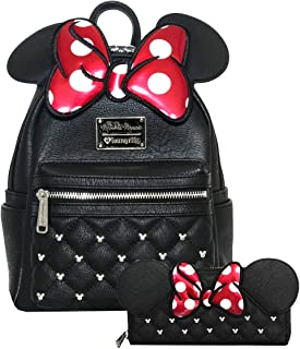 Minnie Mouse Bow Mini Backpack and Wallet Set (Black/Red)