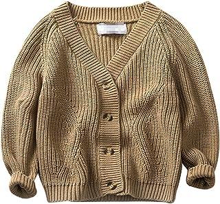 Yuncai Moda Niño Prendas de Punto Cárdigans Vientos Universitarios Algodón Suéter para Niños