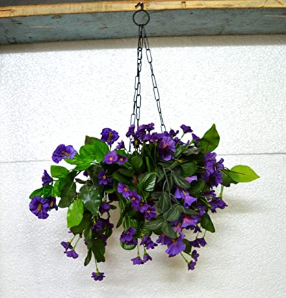 VATIKA FLOWERS Artificial Purple Nargis Flowers Hanging Flower Wooden Pot with Hook Chain for Home Gardener Grower Planter Office Balcony