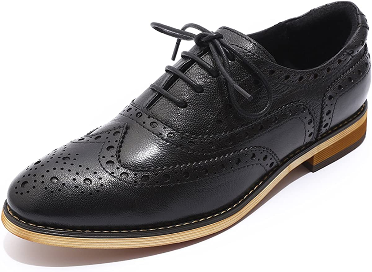 Mona flying Women's Leather Perforated Wi Oxfords Lace-up Brogue Columbus Mall 5 ☆ very popular