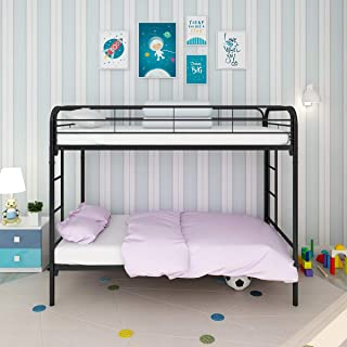 JURMERRY Bunk Beds Metal Frame Twin Over Twin with Black Slat&Ladder Hevay Duty Steel Bed Frame(Twin, Black)