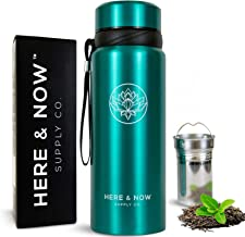 25 oz Multi-Function Travel Mug and Tumbler | Tea Infuser Water Bottle | Fruit Infused Flask | Hot & Cold Double Wall Stainless Steel Coffee Thermos | by Here & Now Supply Co. (Celestial Blue)