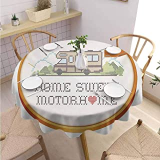 Modern Round Tablecloth Home Sweet Home,Embroidery Hoop Cross Stitch Needlework Sewing Design Trailer Home Print,Multicolor Buffet Table Holiday Dinner Picnic D39