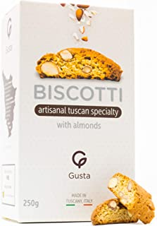 Gusta Authentic Biscotti Cookies Made in Tuscany, Italy - Classic Almond - Original Two Bites Size - All Natural Ingredients - Fresh & Genuine Italian Dessert Treats - 8.82oz