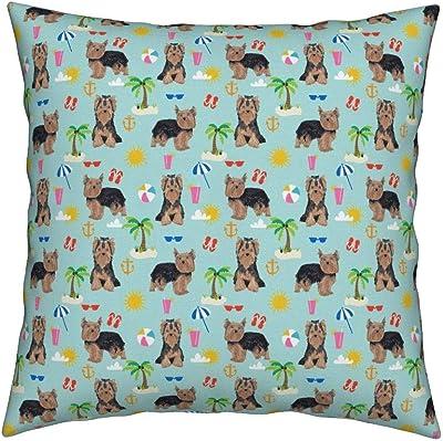 Amazon.com: Yorkie Beach Eco Canvas Throw Pillow Cover ...