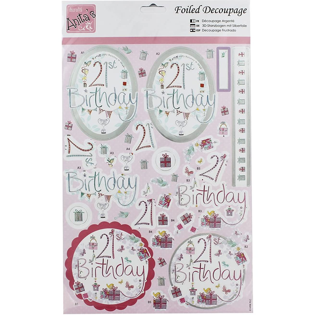 DOCrafts ANT169607 Anita's 21st Birthday A4 Foiled Decoupage Sheet, Multicolor