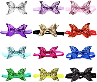 12 Pack Glitter Sparkly Bling Shiny Sequins Leather Headbands Elastic Slim Hair Band Bow Headwear Black Red Pink Gold Silver Accessories Bulk for Kids Toddler Baby Girls