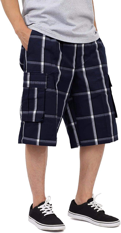 Shaka Wear Men's Cargo Shorts – Casual Plaid Relaxed Loose Fit Elastic Waist Multi Pocket Pants Regular Big S~5XL