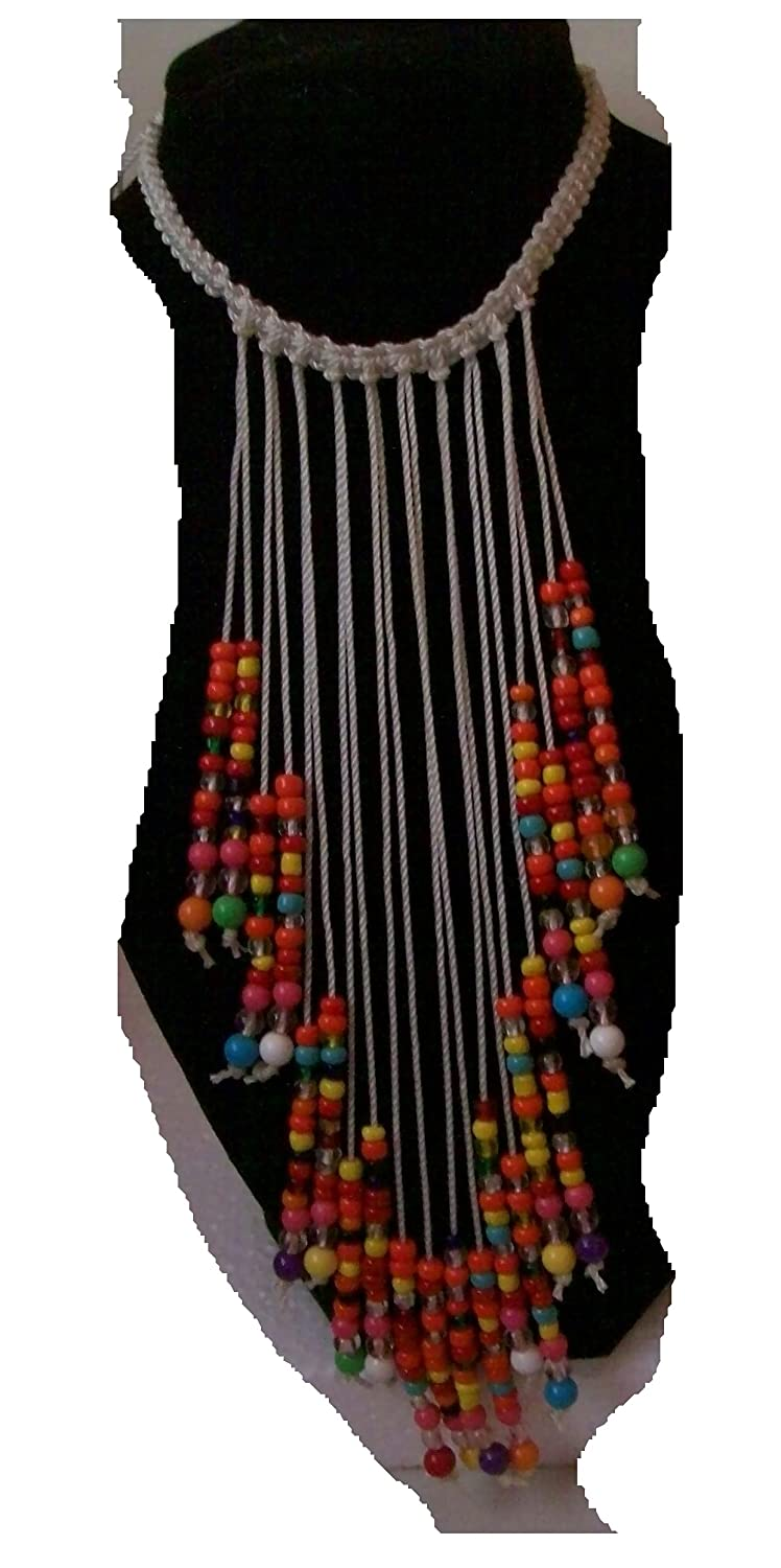 Rainbow Macrame Cascade Necklace With Glass Beads Colorado Springs Mall Overseas parallel import regular item