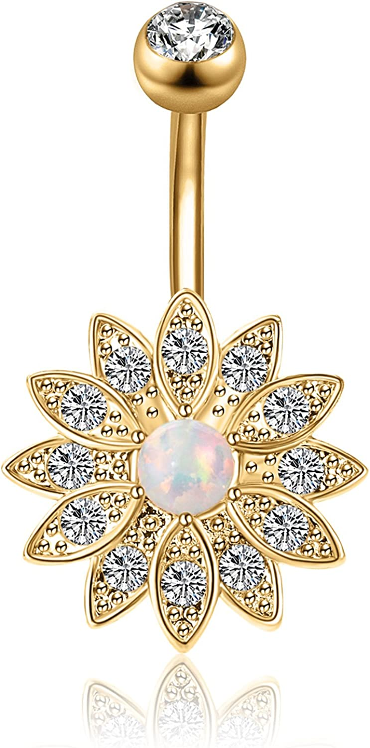 CABBE KALLO Belly Button Rings Dangle Flower Opal Navel Surgical Steel 14G for Women Barbell Body Piercing Jewelry