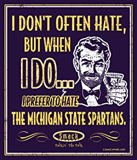 Michigan Football Fans. I Prefer to Hate The Michigan State Spartans 12'' X 14'' Navy Metal Fan Cave Sign