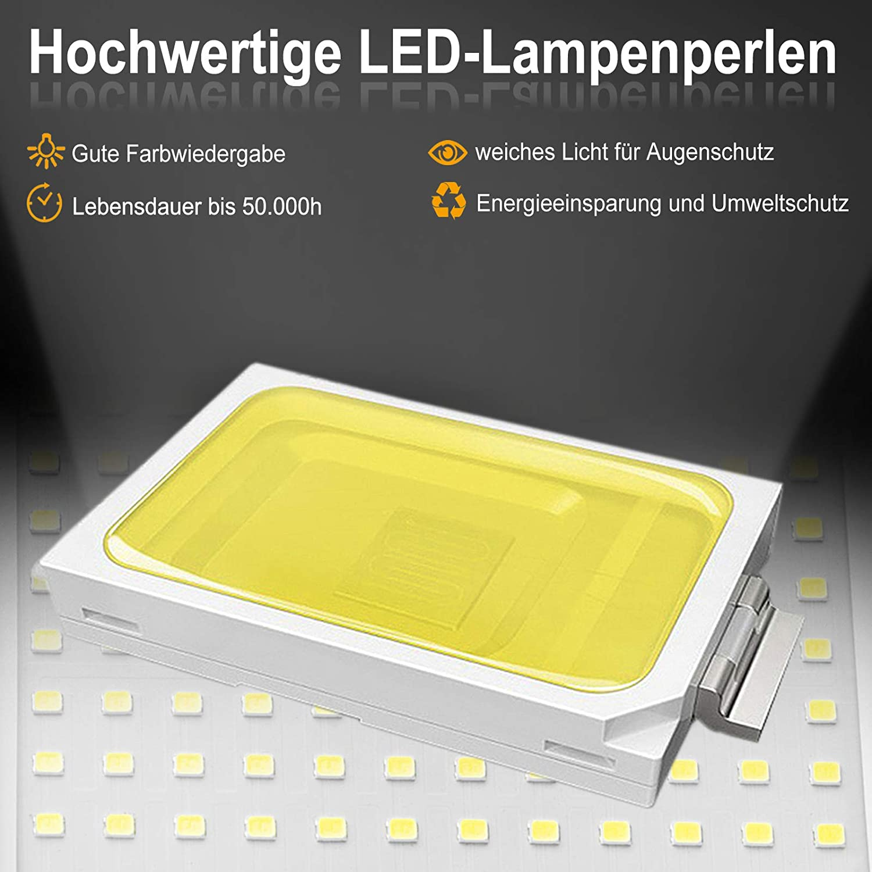 con spina impermeabile con cavo di alimentazione da 3 m Faretto LED portatile da 100 W lampada da costruzione con staffa pieghevole IP66 Aufun officina per cantiere garage bianco caldo