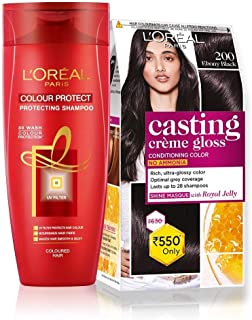 L'Oreal Paris Casting Creme Gloss Hair Color (Ebony Black 200) & Color Protect Shampoo, 87.5g + 72ml and 192ml(352ml) (Pack of 2)