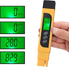 CAMWAY Digital TDS Tester Pen Portátil Calidad de Agua TDS EC Temperatura Pura Medidor TEMP PPM Kit de Filtro de Prueba 0-9990 ppm 4 Modos de Pantalla ppm, µs/cm, °F, °C - Fácil de ver, TDS Amarillo