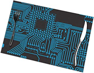 Placemats Circuit Board Polyester Non-Slip Washable Heat Resistant Kitchen Tablemats for Dining Table Coffee Shop Restaurant-Set of 6