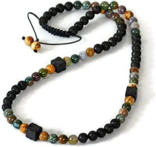 Shamballa Beaded Men's Necklace Handmade Jewelry Black Volcanic Lava Indian Agate Picture Jasper