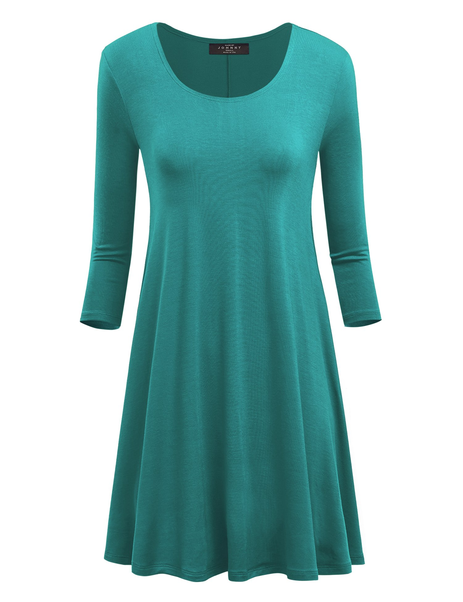 Available at Amazon: MBJ Women's Round Neck 3/4 Sleeves Short Trapeze Dress - Made in USA