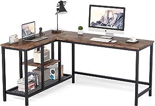 Tribesigns Bureau d'ordinateur en Forme de L, Bureau d'angle Industriel avec étagères de Rangement et huche , Poste de Tra...