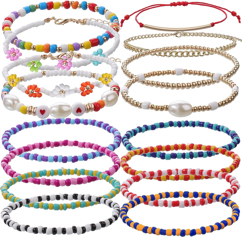 16Pcs Bracelet Sets for Women Handmade Beaded Flower Bohemian Br