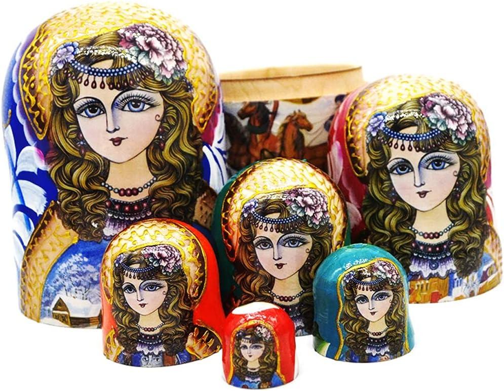 ZANZAN Matryoshka Sacramento Mall Max 82% OFF Set Russian Stac Wood Nesting Dolls