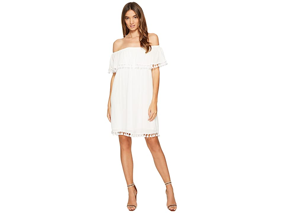1.STATE Strapless Ruffle Top Dress w/ Tassels (Cloud) Women