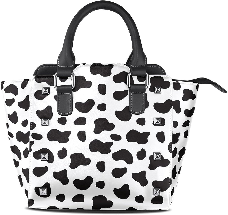 My Little Nest Women's Top Handle Satchel Handbag Milk Cow Spots Ladies PU Leather Shoulder Bag Crossbody Bag
