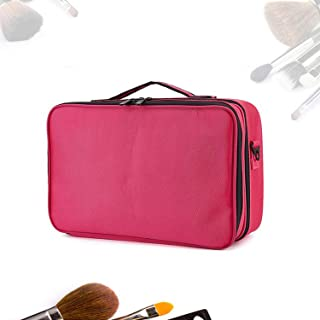 Portable Makeup Train Case 3 Layer Cosmetic Travel Storage Organizer Bag with Dividers and Brush Pockets Rose-Red