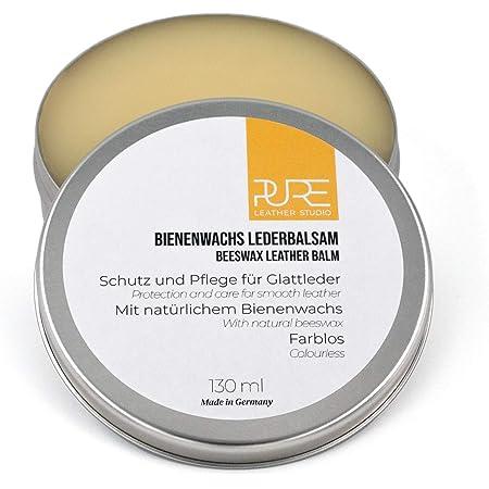 PURE Leather Studio Crema incolora para Cuidado de Piel y Cuero 130ml Cera de Abeja Natural I Bálsamo reparador I Impregna y Protege - Made in Germany