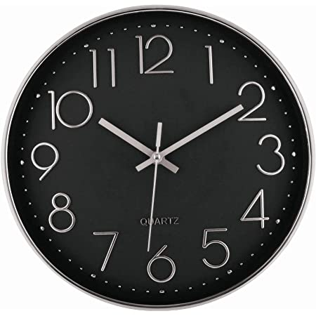 12 Inch Silver Wall Clock Silent Non-Ticking Decorative Battery Operated Quartz Round Wall Clock for Living Room Bedroom Home Office School Decor (Black Dial)