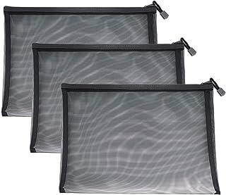 ジッパー式ファイル袋,クリアファイル ジッパーバッグ B6 B4 A5 A4ファイルクリアポケット. 領収書ファイルメッシュポーチ (A4 メッシュ3つ)