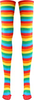 Skeleteen Colorful Rainbow Striped Socks - Over The Knee Clown Striped Costume Accessories Thigh High Stockings for Men, Women and Kids