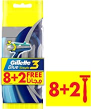 Gillette Blue Simple3 Men's Disposable Razors, 8+2 Count
