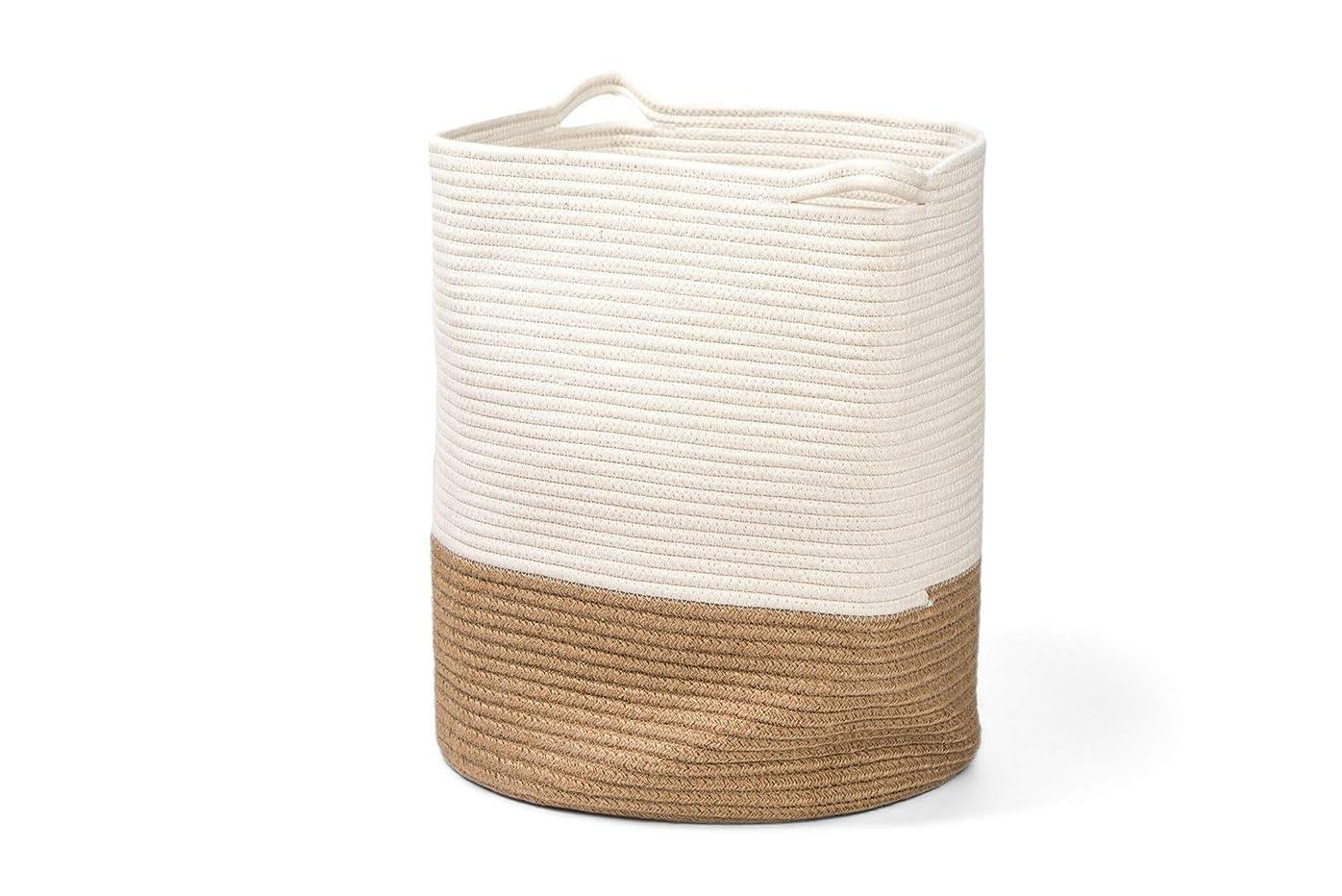 比率ネコとまり木Oakey Living コットンロープバスケット 化学物質を含まずお肌に優しい 頑丈 傷がつきづらい バスケット 収納ボックス 綿 コットン バスケット 収納バッグ おもちゃ入れ 洗濯かご ランドリーバスケット タオル収納 インテリア オシャレな色使い 大きなサイズ 40.6cm(奥行)× 45.7cm(高さ)