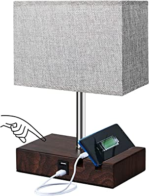 Jorunhe USB Table Lamp,Modern Bedside Lamp with USB Port to Recharging Your Devices,Ambient Light, Fabric Shade, Nightstand Lamp Perfect for Bedroom