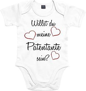 Mister Merchandise Mister Merchandise Baby Body Willst du meine Patentante sein Strampler liebevoll bedruckt Pate Patenschaft Taufe Weiß, 0-3