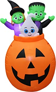 5 Foot Tall Lighted Halloween Inflatable Pumpkin Basket with Baby Ghost, Witch and Frankenstein Monster Trio Party Decoration for Outdoor Indoor Home Garden Yard