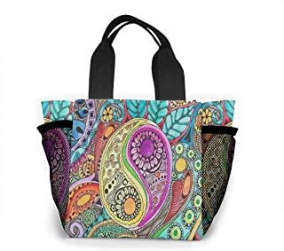 Reusable Grocery Bags Hippie Backgrounds Small Tote Bag Lunch Bag for Women