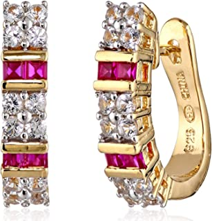 """18K Yellow Gold Plated .925 Sterling Silver Square-Cut Created Gemstone Hinged 3/4"""" Hoop Earrings - Choice of Gem Colors"""