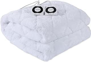 Berkshire Blanket Grace Fur Heated Intellisense Electric Mattress Pad, Queen, White