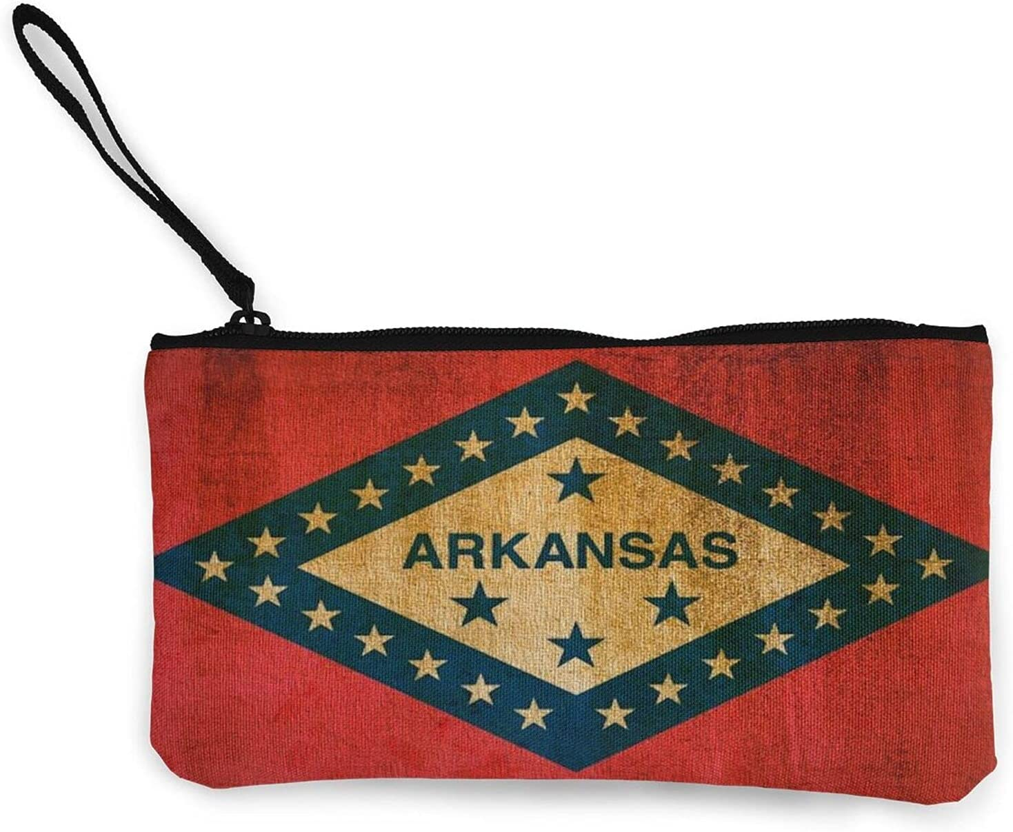 Vintage Arkansas State Flag Multifunction Travel Toiletry Pouch Small Canvas Coin Wallet Bag Zipper
